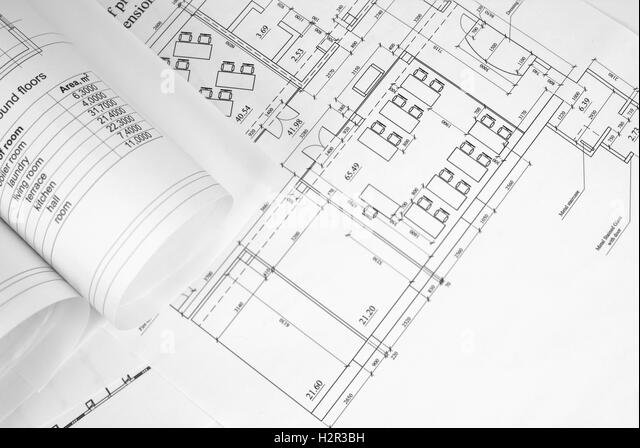 Architectural Drawing Font architecture drawing rolled black and white stock photos & images