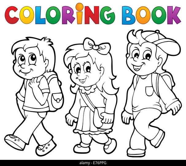 Coloring Book Kids Theme Picture Stock Photos & Coloring Book Kids ...
