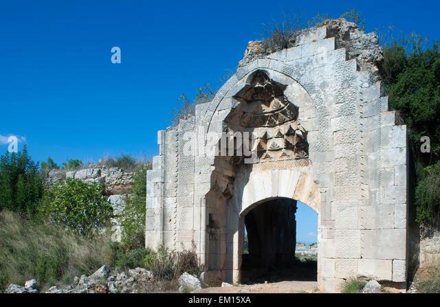 Lastest Entrance To Agzikarahan Caravanserai Cappadocia Turkey  Stock Image