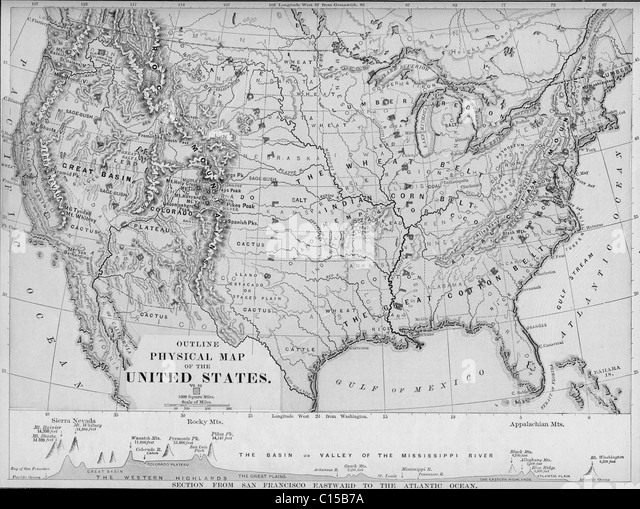 United States Map Black And White Stock Photos Images Alamy - Us map 1884