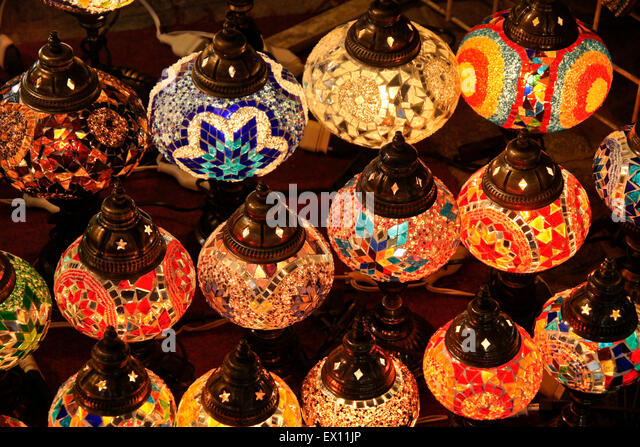 colored glass lighting. Colored Glass Lamps For Sale In Souk, Old Dubai, United Arab Emirates - Stock Lighting