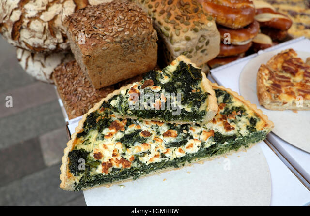 Street Food Display Spinach Flan And Wholemeal Bread On A Stall In Whitecross Street Market In