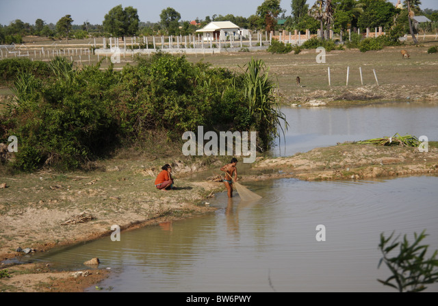 Cambodia fishing net stock photos cambodia fishing net for Local fishing ponds