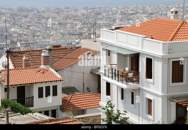 modern housing overlooking the city of thessaloniki northern greece stock image - Modern Greek Architecture