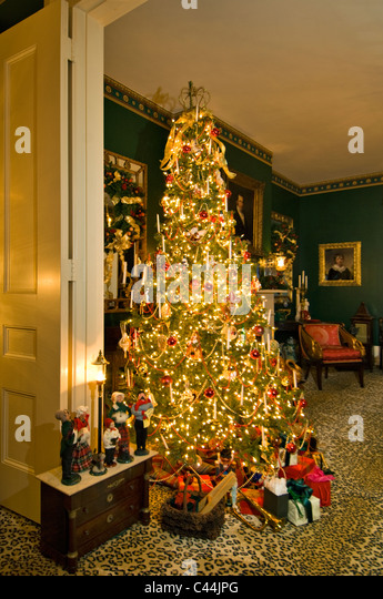victorian christmas tree in home in new albany indiana stock image - Victorian Christmas Trees