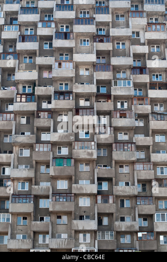 Ugly Hive Like Resident Block Building With Lots Of Windows And Balconies    Stock Image