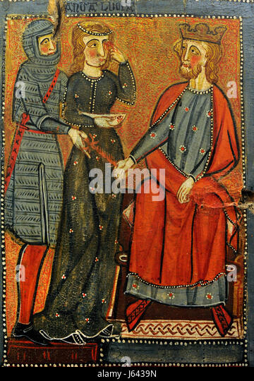 Anonymous. Catalonia. Panels with scenes of the Martyrdom of Saint Lucy, ca.1300. Detail depicting Saint Lucy taking - Stock Image