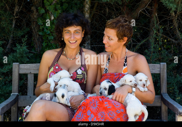 ... And Puppies Stock Photos & Adult And Puppies Stock Images - Alamy