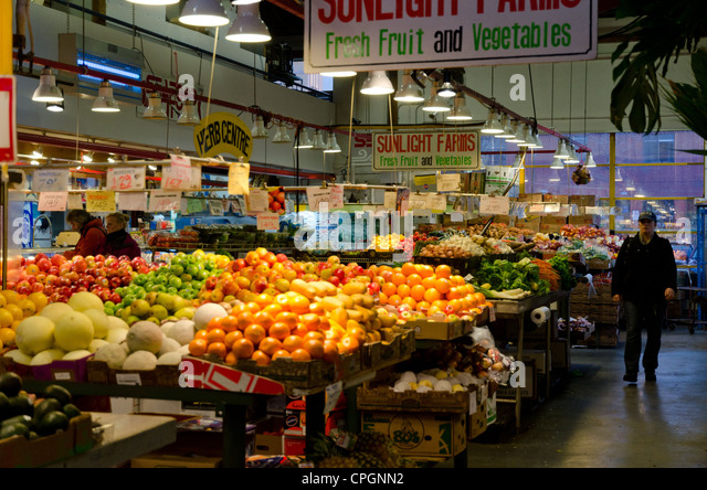 Image result for Colourful display of fruit and vegetables at Granville Market