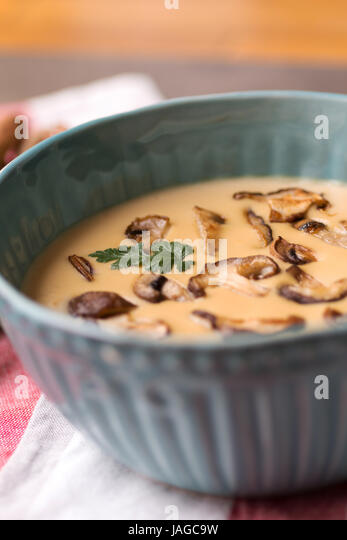 Cream Mushroom Soup In Bowl On Stone Background Homemade Mushrooms Pottage Puree Stock