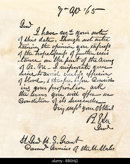 Ulysses S Grant Letter To Robert E Lee Surrender