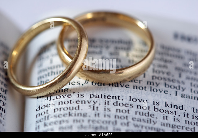 Wedding Rings With Bible Verse Stock Photo 5825266 Alamy