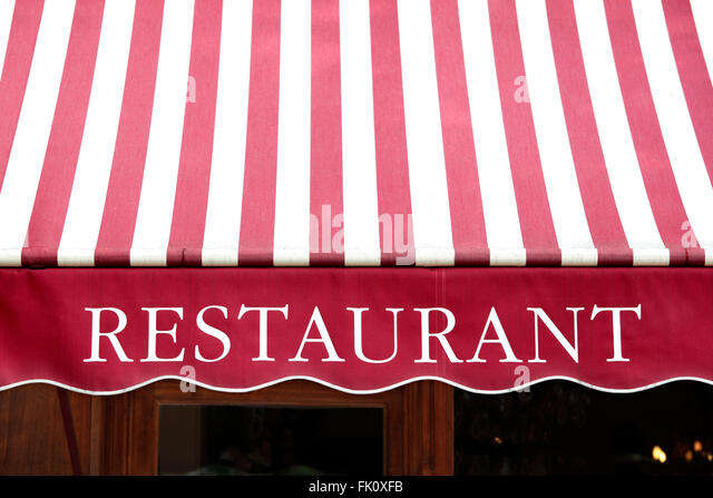 Striped french restaurant canopy in Paris france. - Stock Image & Striped Canopy Stock Photos u0026 Striped Canopy Stock Images - Alamy
