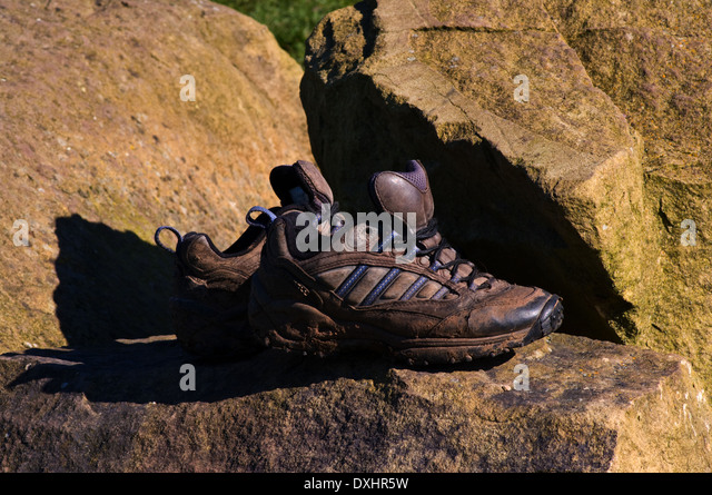 Pair Sturdy Used Hiking Boots Stock Photos & Pair Sturdy Used ...