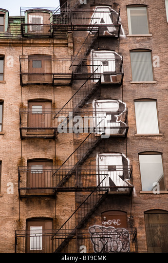 Staircase On The Side Of A Building In Montreal, Canada   Stock Image