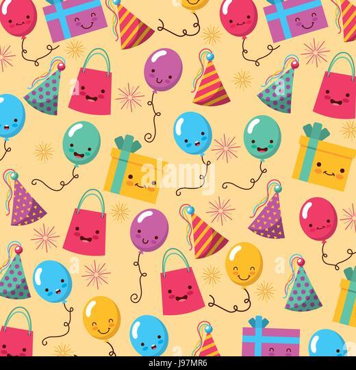happy birthday kawaii icons set - Stock Image