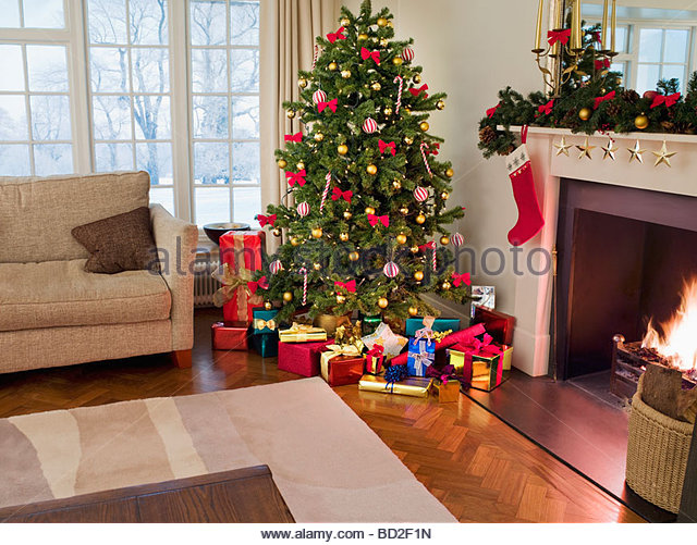 Christmas Tree Living Room gifts under christmas tree stock photos & gifts under christmas