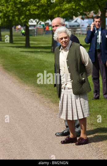 Britains Queen Elizabeth At The Royal Windsor Horse Show Held On Home Park In Grounds