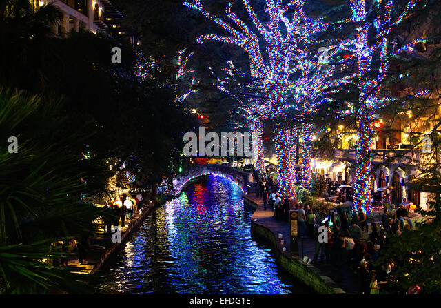 San Antonio Riverwalk Christmas Lights Stock Photos & San Antonio ...