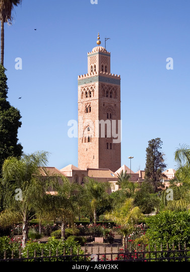 la koutoubia mosque in marrakech morocco stock photo. Black Bedroom Furniture Sets. Home Design Ideas