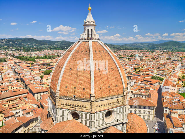 Italy, Tuscany, Florence, Duomo or Cathedral also known as Santa Maria del Fiorel, View of the dome from the cathedral's - Stock Image