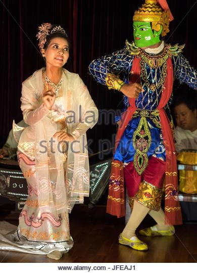 A Hindu Epic is performed by Mandalay's School of Performing Arts. - Stock Image