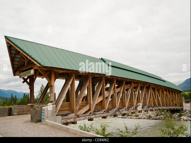 Kicking horse pedestrian bridge stock photos kicking for Timber frame bridge