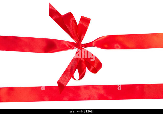 Red gift bow beautiful satin stock photos red gift bow beautiful red horizontal gift ribbons and luxurious bow isolated on white background stock image negle Image collections