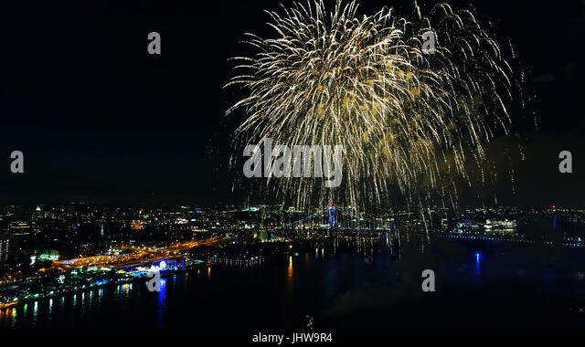 Aerial View of Fireworks Philadelphia - Stock Image
