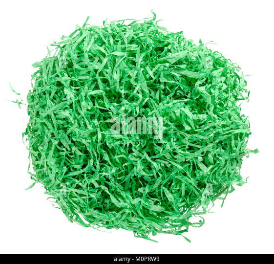 Green Paper Easter Grass Nest From Above Colored Crinkle Gift Basket Shred And