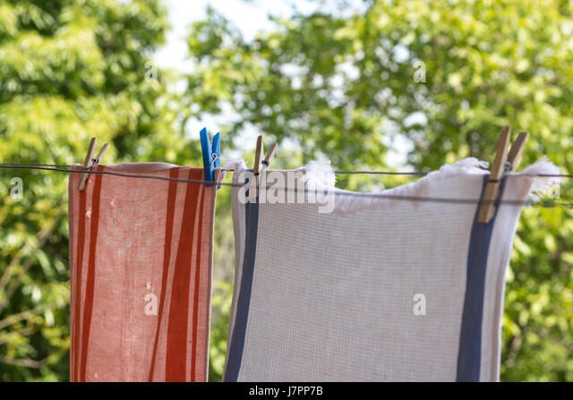 7/8/18-7/14/18 Two-old-towels-hanging-up-with-pegs-outside-to-dry-j7pp7b