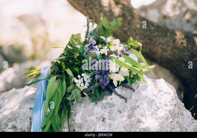 Wedding Bridal Bouquet Of Roses Lisianthus Lavender Gypsophila Verdure Italian On The