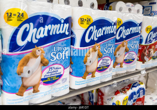 Packages Of Charmin Brand Ultra Soft Toilet Paper Stacked On Grocery Store Shelves