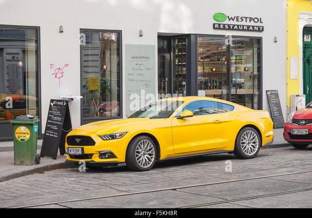 vienna austria november 4 2015 bright yellow ford mustang 2015 car stands - Yellow Restaurant 2015