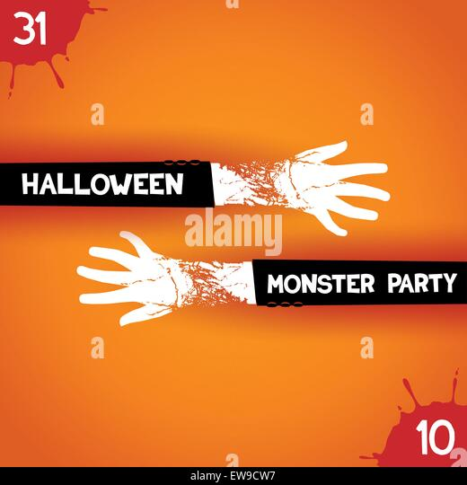 trendy creative poster for halloween monster party two arms zombies drawn to meet each other - Halloween Slogans