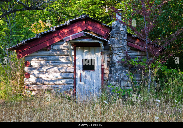 a pioneer log cabin on the saanich peninsula vancouver island canada stock image