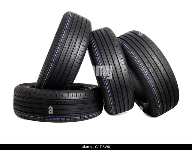 car tire isolated on white stock image