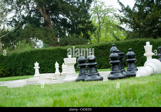 Large Garden Chess Game   Stock Image