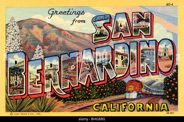 Greetings from california stock photos greetings from california greetings from san bernardino california postcard 1943 stock image m4hsunfo Gallery