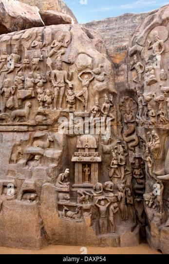 Mahabalipuram stone sculpture stock photos