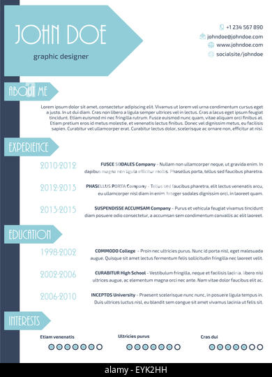 simplistic modern resume curriculum vitae cv template design with arrows stock image