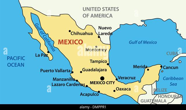 Vector Ilration Map Of United Mexican States Stock Image