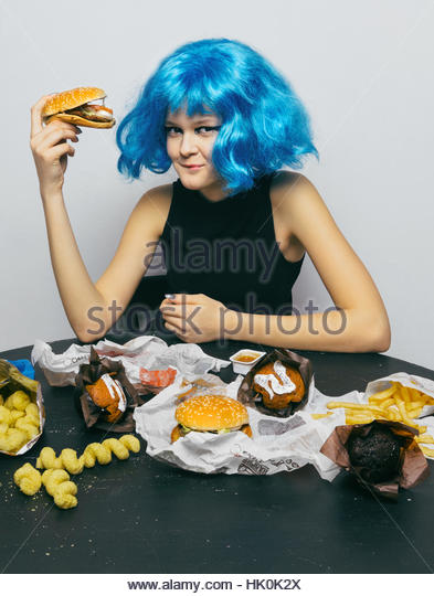 Girls eating fast food