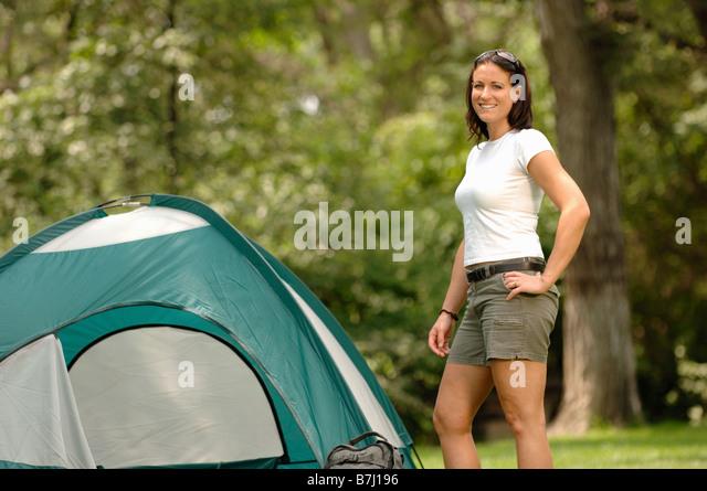 Young woman in front of tent Regina Saskatchewan - Stock Image  sc 1 st  Alamy & Woman Tent Regina Saskatchewan Stock Photos u0026 Woman Tent Regina ...