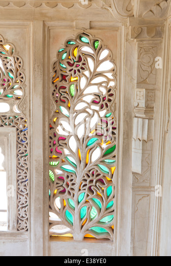 City palace udaipur inside stock photos city palace udaipur detail of stained glass inside the city palace of udaipur stock image planetlyrics Image collections