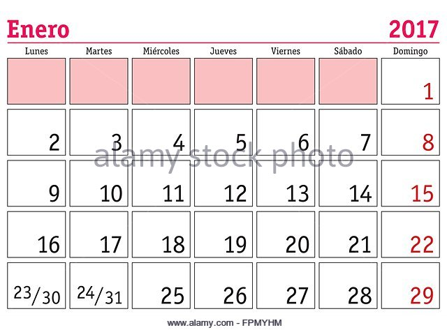 Monthly Planner Calendar January 2017 Stock Photos & Monthly ...