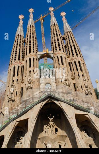 Gaudi cathedral stock photos gaudi cathedral stock for Antoni gaudi sagrada familia architecture