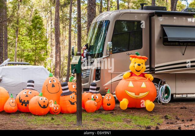 pumpkins and winnie the pooh halloween decorations in fort wilderness campground at walt disney world
