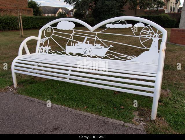 Public Park Benches Part - 38: Unusual Public Park Bench, Hythe, Hampshire, UK 2013 - Stock Image