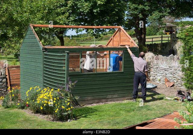 men demolishing an old green painted garden shed stock image